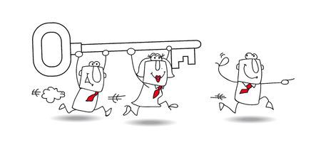 metafoor: Een business team draagt een sleutel. het is een metafoor: ze vinden van de oplossing voor hun probleem