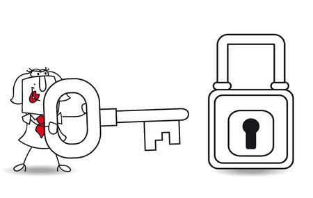 Karen met een sleutel en een hangslot. Het is een metafoor voor de veiligheid of de metafoor om een oplossing te vinden. Stock Illustratie