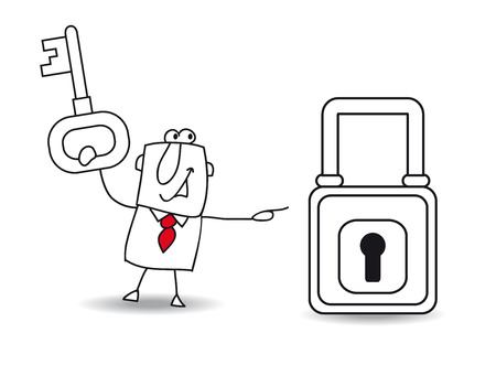 find a solution: Joe with a key and a padlock. It is a metaphor of security or the metaphor to find a solution.