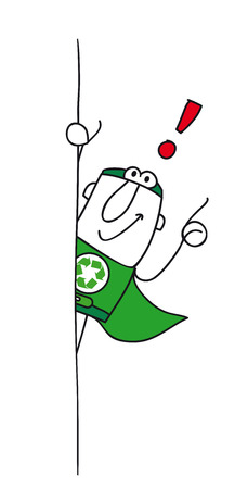 Super Recycling Hero with an exclamation marks ! He can help you to recycling your rubbishes ! Vector