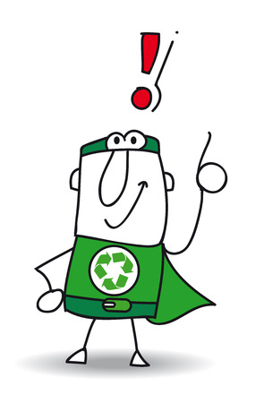problem solving: Super Recycling Hero with an exclamation marks ! He can help you to recycling your rubbishes !
