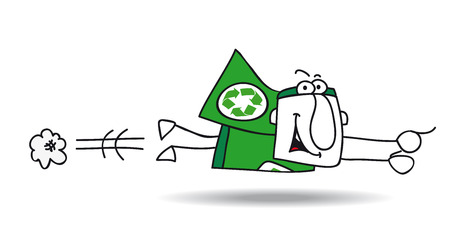Super Recycling Hero is flying very fast ! Its an emergency. He can help your company to recycling her wastes ! Illustration