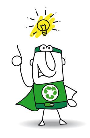 リサイクルのスーパー ヒーローは、良いアイデアを持っている !彼は、止めてもらえますかをリサイクルするあなたの会社を助けることができる   イラスト・ベクター素材