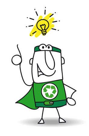 Super Recycling Hero have a good idea ! He can help your company to recycling your rubbishes ! Vector