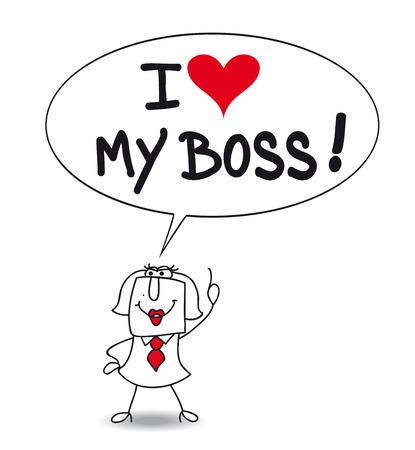 カレンは、実業家は彼の上司を愛すること彼女は言います。彼女は誠実ですか彼女は Bootlicker を持っている?  イラスト・ベクター素材