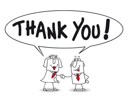 Joe the businessman and businesswoman Karen the say thank you Vector