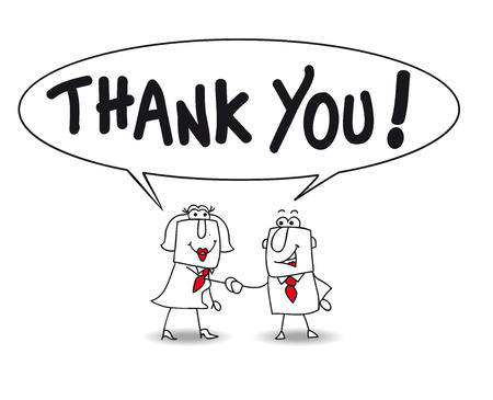 with thanks: Joe the businessman and businesswoman Karen the say thank you Illustration