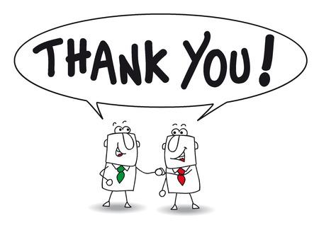 ビジネスマンと言うジョーとベンありがとうございます。彼らは、会社の同僚  イラスト・ベクター素材