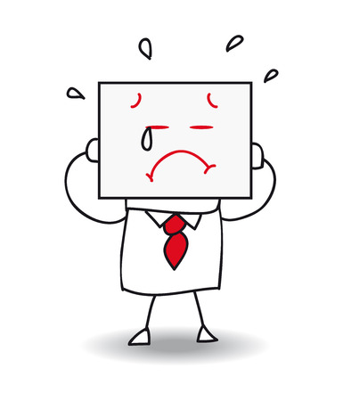 Joe holds a sheet of paper on qui est drawn a sad face. he is sad and he is crying, he is anonymous behind this sheet of paper. Illustration