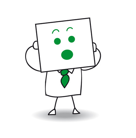 Joe is holding a sheet of paper on which is drawn a surprised face. Yes, he is very surprised, he is anonymous behind this sheet of paper. Illustration