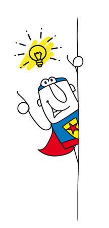 disfrazados: Joe, el superh�roe est� detr�s de una pancarta. �l ten�a una buena idea. Esta ilustraci�n es ideal para su formulario de contacto en su p�gina web.
