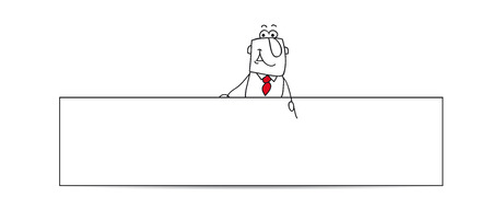 Joe, the businessman is behind a horizontal banner. This illustration is ideal for your contact form on your website.