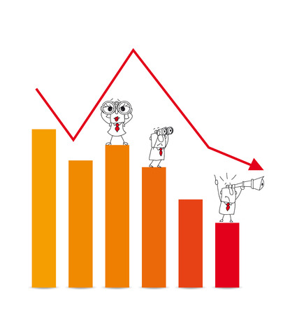 stock market crash: Two businessmen and a businesswoman are very disappointed.This diagram illustrates the crash of the stock market