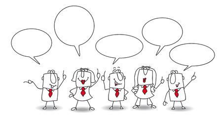 conversaciones: Los empresarios y empresarias están hablando juntos en la oficina. Escriba el mensaje en los espacios de copia Vectores