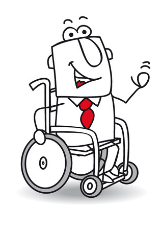 physical impairment: A handicapped businessman in a Wheelchair.
