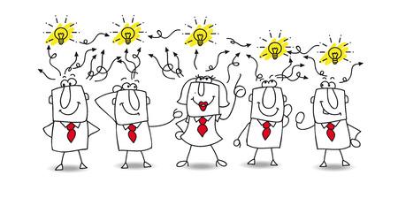 inteligencia: Karen y el equipo intercambian sus ideas. Finalmente, encuentran la soluci�n! Son muy creativos Vectores