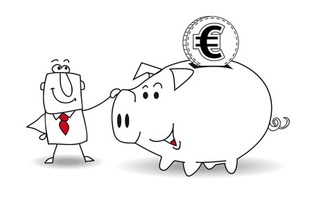 eu: This business man saves money in his Piggy bank . Its a metaphor. Its a good plan for the future Illustration