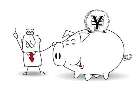 thrift: This business man saves money in his Piggy bank . Its a metaphor. Its a good plan for the future Illustration