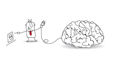 Joe, de zakenman stekkers een brein. Het is een metafoor over om ideeën en over reflectie vinden Vector Illustratie