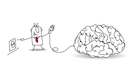 communication metaphor: Joe, the businessman plugs a brain. Its a metaphor about to find ideas and about reflexion