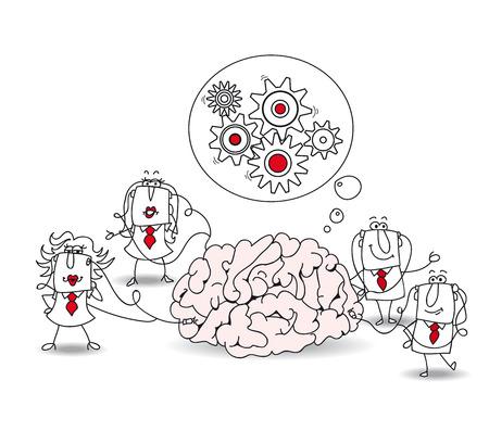 conciencia moral: La met�fora de la conciencia colectiva o una met�fora de una lluvia de ideas. Un equipo est� conectado a un cerebro