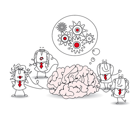Metaphor of collective conscience or a metaphor of a brainstorming. A team is connected at a brain 向量圖像