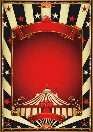 retro art: Een vintage circus achtergrond met een rood kader voor uw vermaak