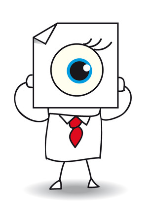 John Doe holds a sheet of paper on which is drawn an eye. The view is one of the five senses Vector