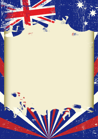 A poster with a large scratched frame and a grunge australian flag Иллюстрация