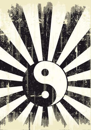 A grunge backgound with a yin yang symbol for a publicity Vector
