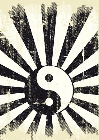 publicity: Un backgound del grunge con un s�mbolo de yin yang para una publicidad
