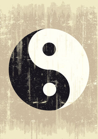 feng shui: A grunge background with a yin yang symbol for a publicity