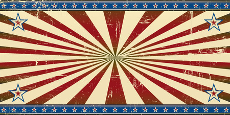 A retro patriotic banner with a grunge texture for an invitation cards background.