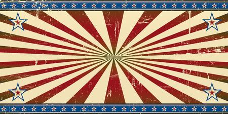 Een retro patriottische banner met een grunge textuur voor de achtergrond een uitnodiging kaart.