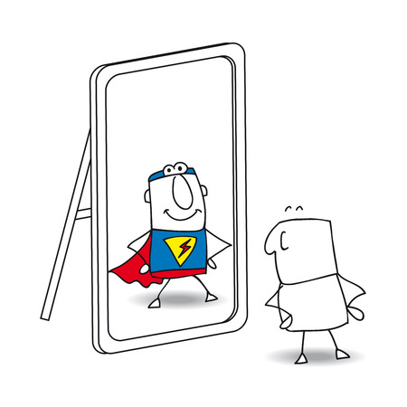 personality development: Joe looks in the mirror. He sees a superhero in the reflection. Its a metaphor of the power which is in each person