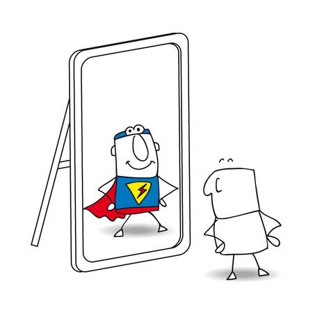 Joe schaut in den Spiegel. Er sieht ein Superheld in der Reflexion. Es ist eine Metapher für die Macht, die in jedem Menschen ist
