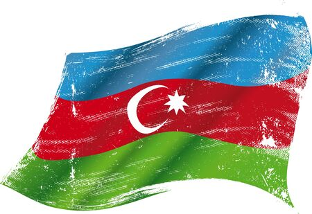 bad condition: flag of  Azerbaijan in the wind with a texture
