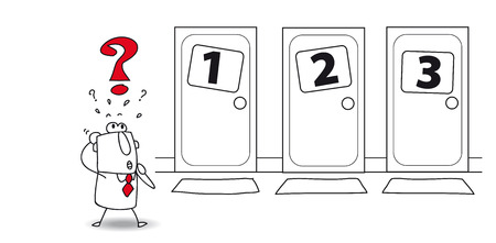 Joe is in front of three doors. Which to open ? The choice is very hard Vector