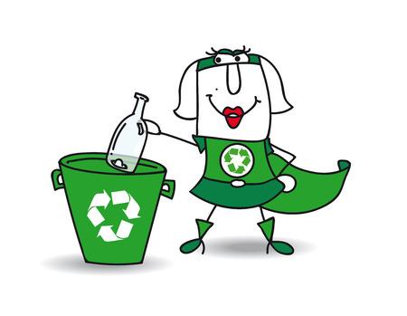 reciclar: Karen del reciclaje-mujer recicla una botella de vidrio en un bote de basura espec�fico