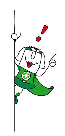 she: Super Recycling woman with an exclamation marks ! She can help you to recycling your rubbishes !