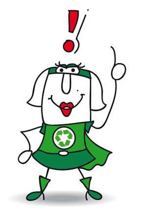 Super Recycling woman with an exclamation marks ! She can help you to recycling your rubbishes !