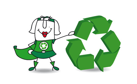 environmental contamination: Super recycling woman with a recycling sign. Save the earth
