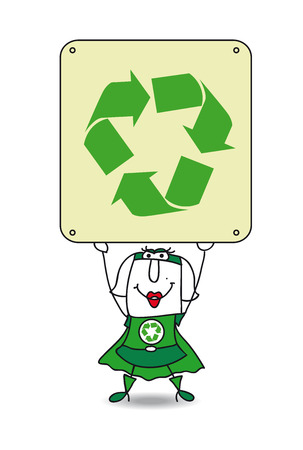 publicity: Karen, the Super recycling woman, points the finger the placard. This illustration is ideal for your advertising.