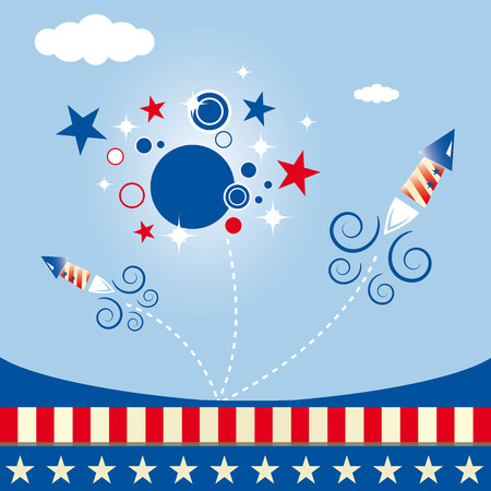A square invitation with a drawing of fireworks Vector