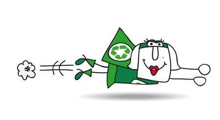 she: Super Recycling woman is flying very fast ! Its an emergency. She can help your company to recycling her wastes !