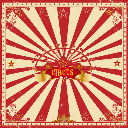 A wonderful circus card with red sunbeams for your entertainment Ilustracja