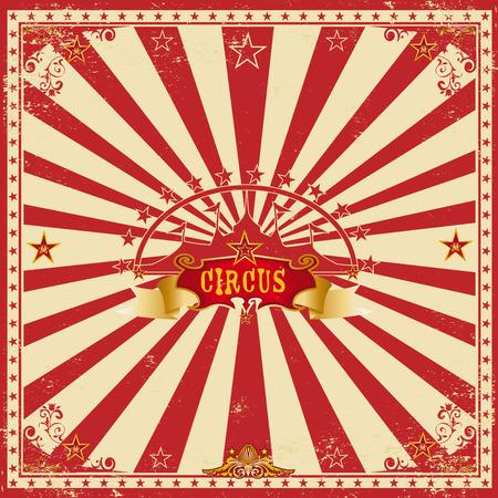 fondo de circo: Una tarjeta de circo maravilloso con los rayos de sol de color rojo para tu entretenimiento Vectores