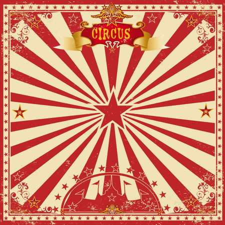 A wonderful circus card with red sunbeams for your entertainment Stock Illustratie