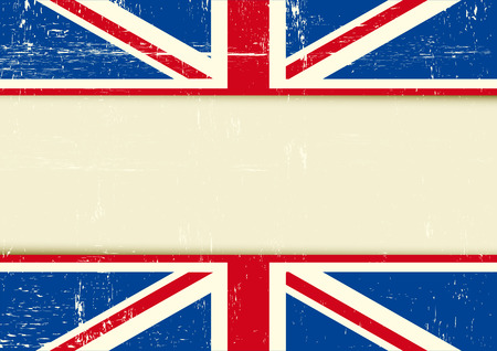 english culture: Horizontal background with the Union Jack flag and a frame for your message. Ideal for a screen Illustration
