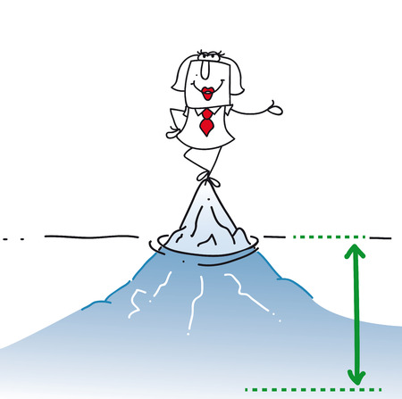 tip of iceberg: Karen is on the top of the iceberg. It is a concept of her many problems which are hidden. Illustration